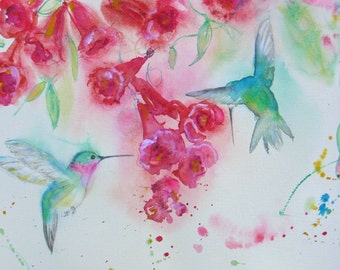 Hummingbird print, hummingbird art, print from original watercolor, Trumpetvine painting, abstract flower print, home decor, wall decor