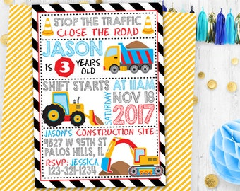 Under construction birthday invitation Under construction invitation Construction card Birthday card Digital printable Dump Truck invitation