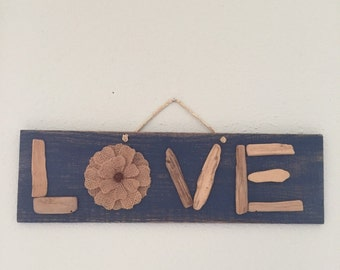 Driftwood LOVE sign reclaimed wood