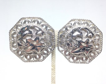 Vintage Estate Jose and Maria Barrera Avon Silver Tone Vintage Silverplated Earrings