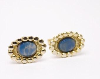 Vintage 60's Blue Stone Gold Cufflinks
