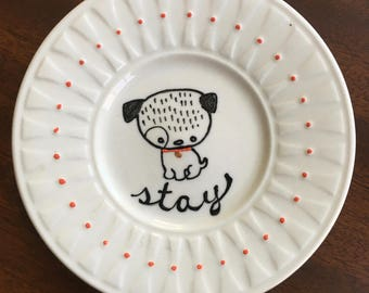 Stay- Hand Painted Puppy with Red Collar on a Repurposed Porcelain Plate