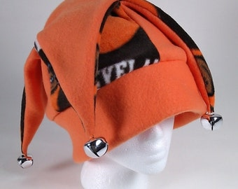JESTER Hat with Jingle Bells - Cleveland Browns Soft Warm Fleece Fun Stylish Cap Headwrap Team Pride Spirit