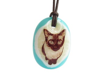 Siamese Cat Necklace - pendant necklace cat jewelry / cat love jewelry / cat gift Siamese / pet lover jewelry / charm necklace cat