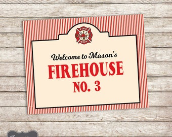 Fire Truck Birthday Sign, Fire Truck Welcome Sign, Fire Station Sign, Firehouse Sign, Fire Truck Party Printable, PERSONALIZED