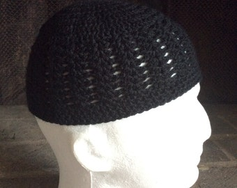 Black Kufi, Crochet Kufi, Men Kufi, Boy's Kufi, knitted Kufi, Kufi for Men, Kufi for Boy's, Kufi for Children, Knitted cap