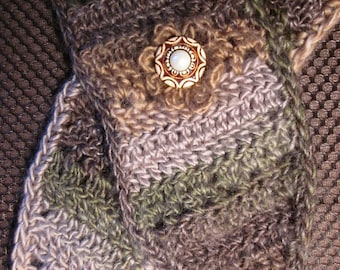 Crochet Wool Neck Warmer with Button