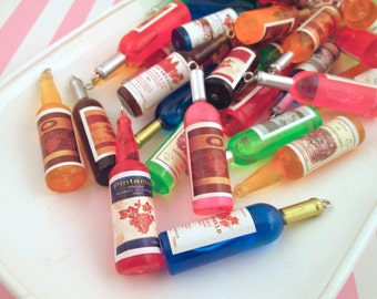 Miniature Wine Bottle  Charms Multicolor, #194b