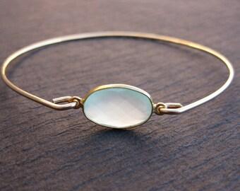 Aqua Chalcedony Gemstone Bangle Bracelet 14k Gold bangle, March Birthstone, Birthday Gift, Natural Stone Jewelry, Seafoam Chalcedony Jewelry