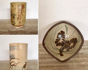 Vintage Pottery, Set of 3 Unique Pottery Pieces, Two Vintage Pottery Wine Cups, Pottery Palm Dish all beautifully hand painted