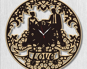 Love Romantic Couple Wall Wood Clock, Best Gift for Decor