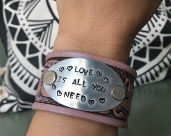 Love Is All You Need - Upcycled Leather Cuff