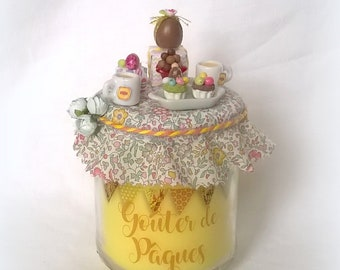 """Yellow """"Easter snack"""" miniature treats and Easter egg candle"""