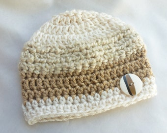 0-3 months Tan Cream Neutral crochet beanie with button