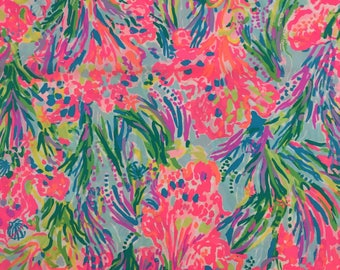 "multi fan sea pants poplin cotton fabric square 18""x18"" ~ lilly pulitzer"