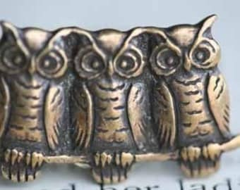Owl Trio Ring Antique Brass Tone