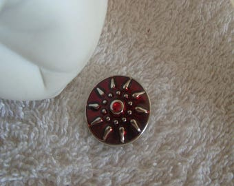 CHARM snap Sun 2 cm round enameled red pattern Sun Media earrings, bracelets, necklaces