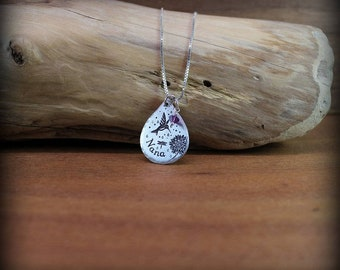 Hummingbird Nana necklace, hand stamped and forged necklace
