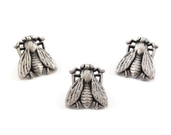Bee Metal Buttons 13mm Antique Silver Qty 3