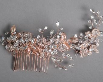 Rose Gold Rhinestone Bridal Comb, Rose Gold Leaf Wedding Headpiece - Giselle
