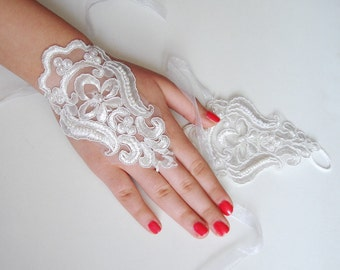 Lace Gloves Fingerless, Ivory Lace Fingerless Gloves Wedding Pearl beaded lace gloves