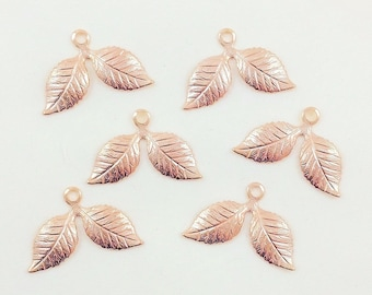 Rose Gold Leaves, Brass Leaf Charms, Wedding Headpiece Supply, Brass Stamping, Brass Findings, 26mm x 17mm - 6 pcs. (rg297)