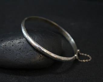 Sterling Silver Etched Hinged Bangle Bracelet, Sterling Hinged Bangle, Simple Sterling Bangle Bracelet, Hinged Bracelet, Thin Silver Bangle