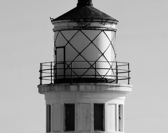 Point Vicente Lighthouse in Sunny Southern California - Black & White Photo Poster Wall Art Picture - 8x10 or 16x20