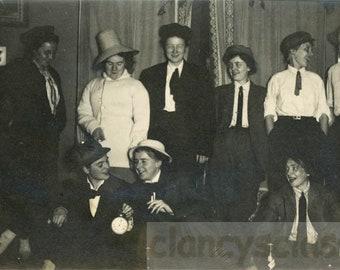 Vintage photo 1912 Women Night Clock New Years Party Affectionate Crossdress Smoking lesbian