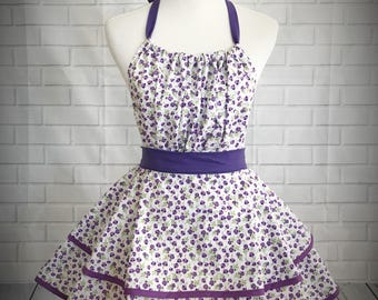 READY TO SHIP //Purple pansy retro pinup apron // Great gift for bridal shower, houswarming gift or just cause!