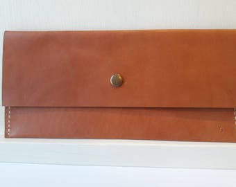 English Tan Leather Clutch