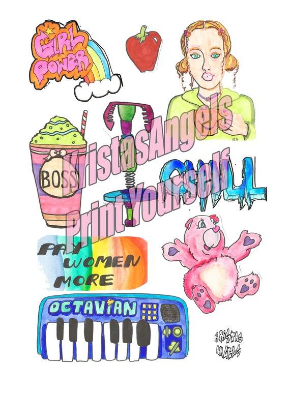 Girl boss print yourself art stickers mockup printable