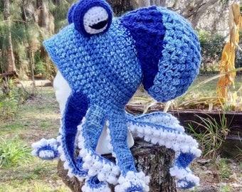 Octopus hat,  sea creatures, squid hat, cosplay, snowboard hat, steampunk, tentacle hat, adult Kraken hat, cosplay hat