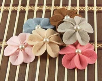 SALE CLEARANCE 30% off Prima Flowers The Meredith Watermelon Felt Fabric flowers with Pearl Center