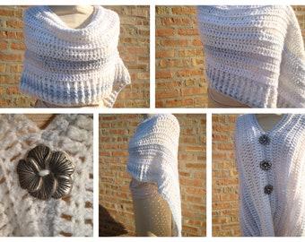 White and Grey Blend Poncho - Crochet Shawl - Crochet Coverup - Hand Crochet - Custom Colors