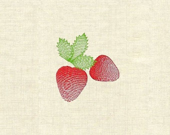 Machine embroidery fruit strawberries