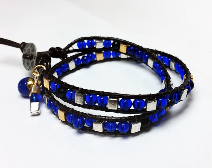 Cobalt Blue and Metal Bead Leather Wrap Bracelet - Double Wrap Bracelet with Blue and Metal Beads