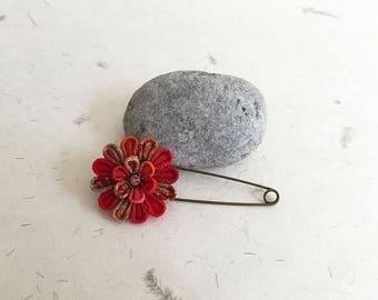 Tsumami flower Scarf pin, Shawl pin SPC005