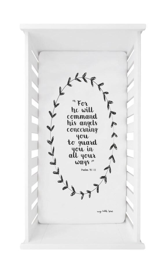 Crib Sheet Bible quote Psalm 91:11 Fitted Crib Sheet Crib