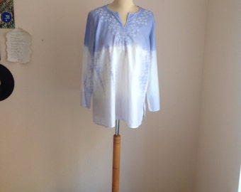 90s White Dyed Tunic Sequin Embroidered Shirt Womens Large Medium