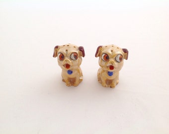 Lusterware Dog Salt and Pepper Shakers, vintage Salt and Pepper Shakers, Lusterware Salt and Pepper collectibles