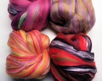 Flower Blend Sample Pack - Spinning Roving Felting Top - Merino Wool and Tussah Silk and Bamboo - 8 oz