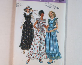 """Vintage Simplicity Sewing Pattern 6218, Misses Dress or Jumper and Blouse, Size 14 Bust 36"""", 1972, Ruffles, Flounce, Uncut, FF, Mint"""