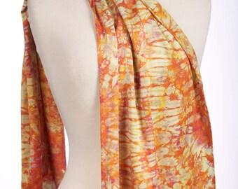 Silk Charmeuse Shibori Scarf Orange Gold Tie Dye