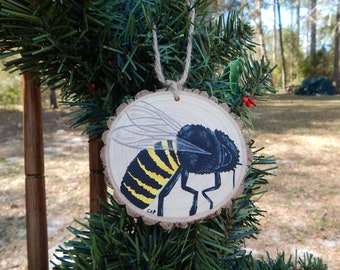 Bee hand painted wood slice ornament