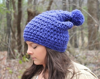 Pom Pom Hat, Crochet Hat, Blue Slouchy Hat, Blue Slouchy Beanie, Blue Beanie,Blue Winter Hat,Blue Women's Hat,Blue Crochet Beanie,THE HUDSON
