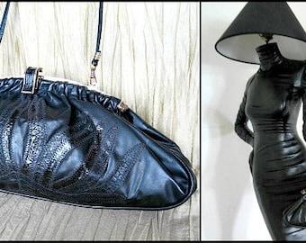 SNAKESKIN Collage Crossbody Purse / Large Snake trim Clutch / Danielle vintage 80s large Shoulder Bag / clutch converts to shoulder bag