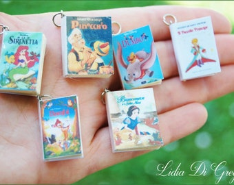Miniature Books ~ Snow White and the 7 Dwarfs, Beauty and the Beast, The Little Prince, The Little Mermaid, Pinocchio, Dumbo. tiny, necklace