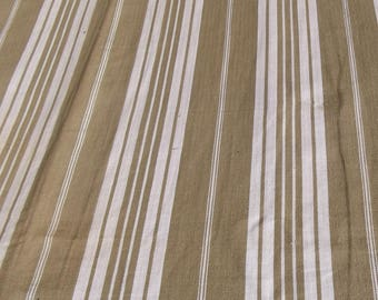 Panel of Vintage French 1930s Striped Ticking Fabric Herringbone Brown Umber