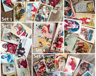 8 Vintage Santa Christmas Gift Tags - 5 different sets to choose from